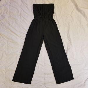 BLACK STRAPLESS, SHEER WIDE LEG ROMPER(W/ SHORTS)